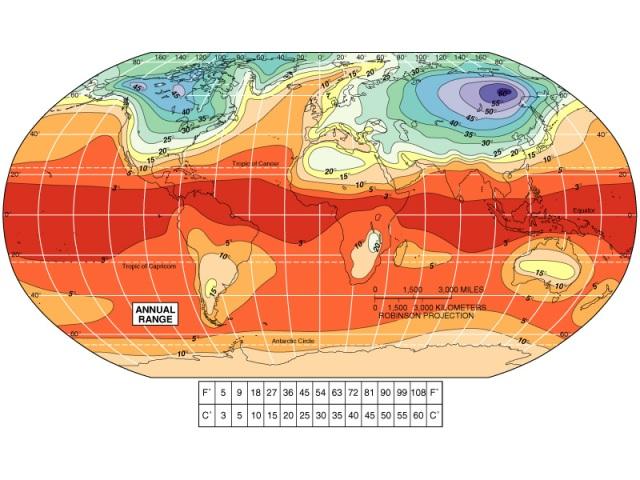 Mapa de variación anual de la temperatura (click para agrandar)