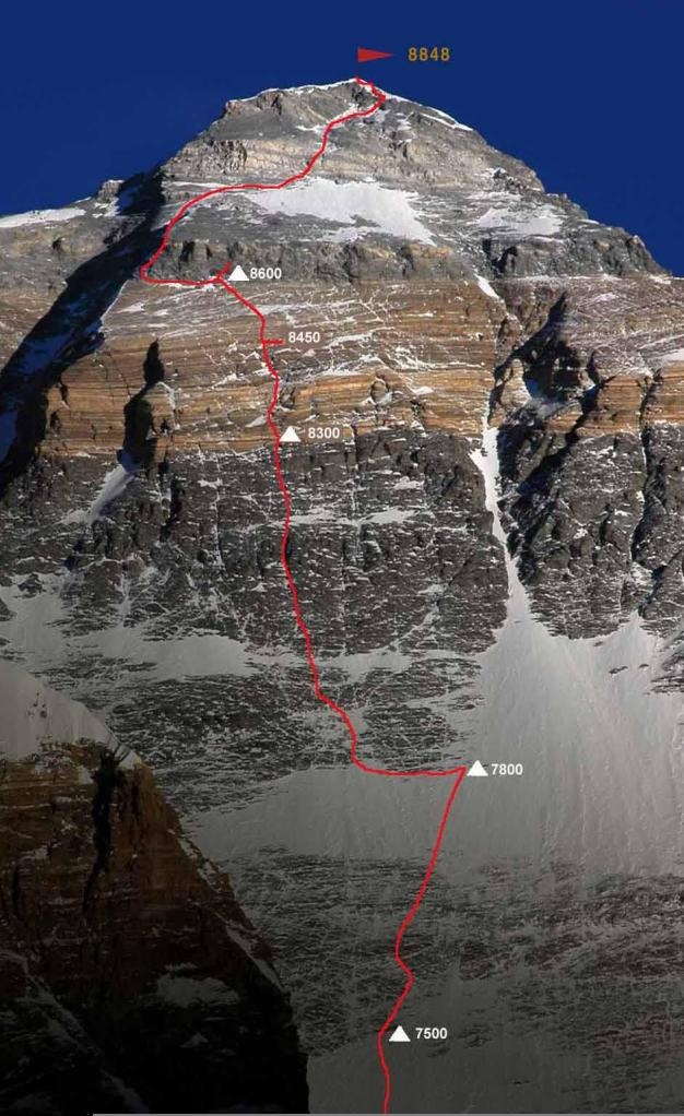 En la imágen con la ruta marcada se ve como se desviaron a la izquierda sobre los 8600m para atravesar la banda de roca podrida. (Click para agrandar)