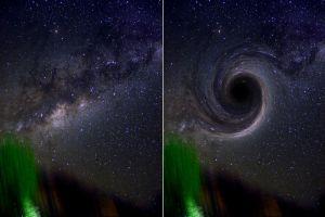 """A la izquierda, una foto que tomé en Valle Grande en abril de este año. A la derecha, mi simulación """"artística"""" de un agujero negro trotando a toda velocidad hacia nosotros (sin considerar lo que brillaría en rayos gama todo el material al rededor acelerándose y esas cosas)"""