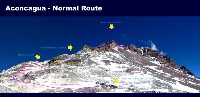Segunda parte de la ruta desde Nido de Cóndores, vía Wiki (Click para agrandar)
