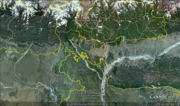 Se aprecia la maraña de líneas amarillas indicando los enclaves (Click para agrandar)