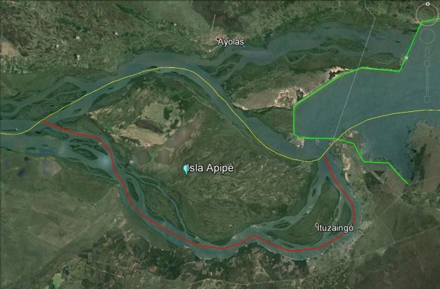 En verde, la represa Yaciretá. En Rojo, el verdadero límite actual