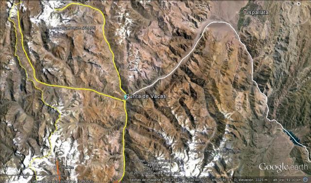 En amarillo, los tres afluentes del río Mendoza. En blanco, el ya formado río Mendoza (Click para agrandar)