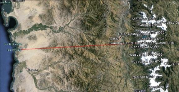 En línea roja, la distancia entre el Huandoy Oeste y el Pacífico