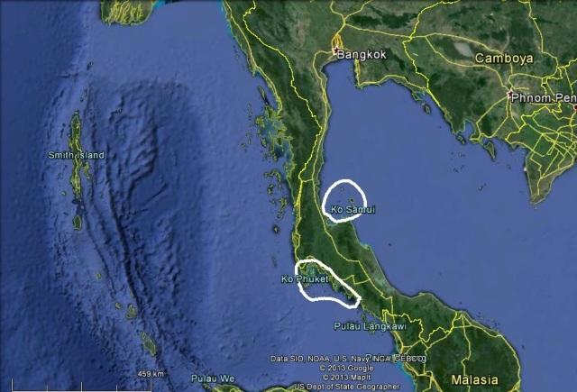 Las principales playas tailandesas (Click para agrandar)