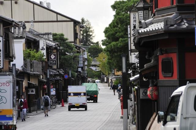 Una calle del barrio más tradicional de Kioto