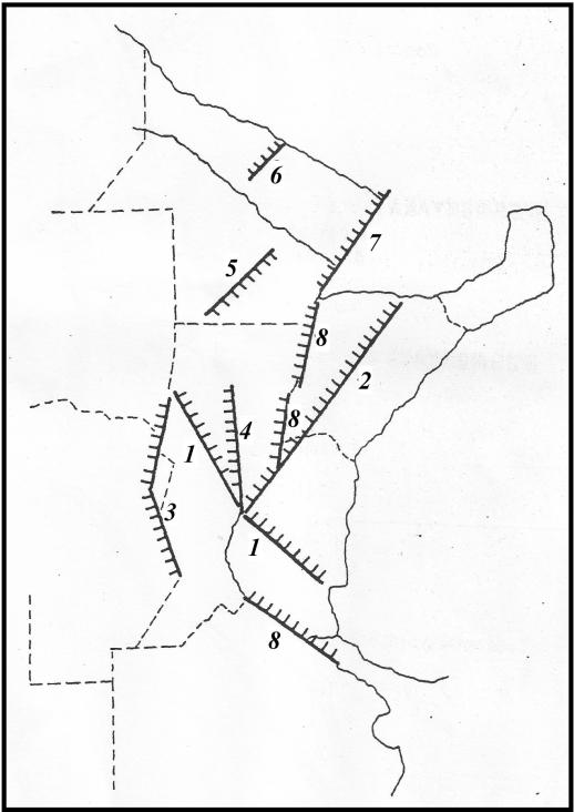 Lineamientos principlaes del NOE argentino. La falla de Tostado es la número 1 (click para agrandar)
