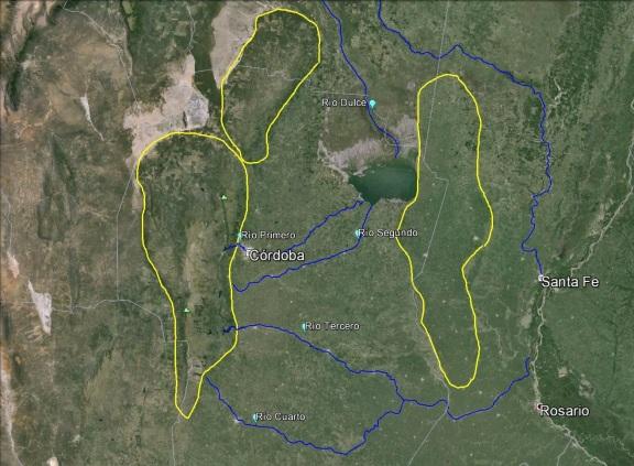 El polígono de la derecha marca la posición de las incipientes sierras de Santa Fe (Click para agrandar)