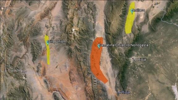 En el mapa, la zona tradicional en naranja y la nuevas zonas en amarillo. Áreas cultivadas No a escala