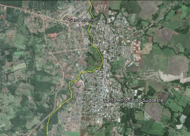 A la izquierda de la línea amarilla, Argentina. A la derecha, Brasil (Click para agrandar)