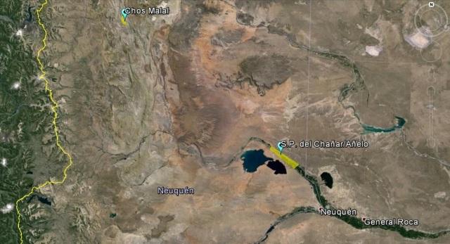En el mapa, la zona tradicional y la nueva zona de Chos Malal