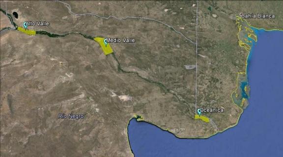 Nuevas regiones vitivinícolas en BsAs. Áreas cultivadas NO a escala (Click para agrandar)