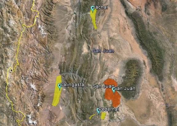 En el mapa, la zona tradicional y la nueva zona de Chos Malal. Áreas cultivadas No a escala