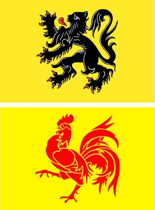 Arriba: Bandera de Flandes Abajo: Bandera del Valonia