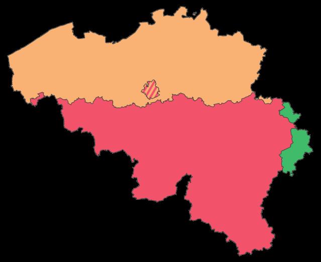 En naranja, Flandes. En rojo Valonia. En verde, áreas de Valonia en que se habla alemán