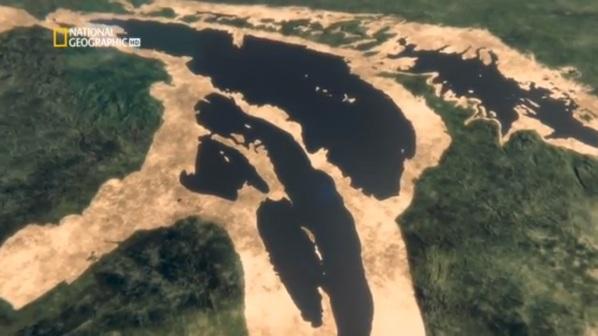 Vista del lago Hurón hace 7000 años con su punte de arena atravesándola