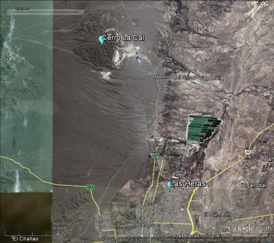 Sector Sur de la falla y parte de la ciudad de Mendoza (Click para agrandar)