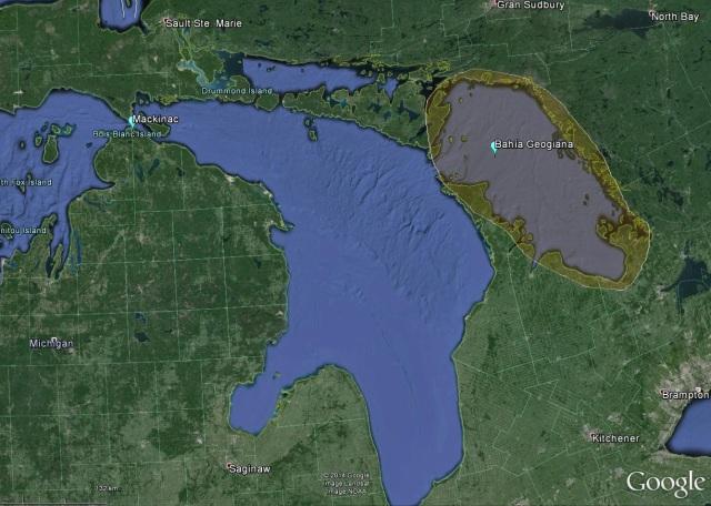 En la imagen aparecen la bahía Georgiana pintada en naranja y el estrecho de Mackinac a la izquierda