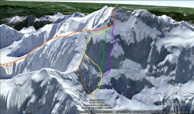 Kangchenjunga Northwest face routes