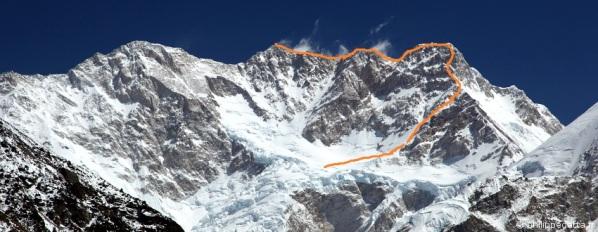 Otra foto sólo con la que considero la ruta más difícil hecha al Kanchen hasta la fecha (click para agrandar)