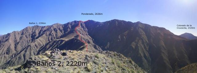 Cerros #25, #26 y #27: Baños 2, 2220m (Δd:970m), Ponderado, 2636m (Δd:1386m) y Vizcacheras, 2688m (Δd:1438m)