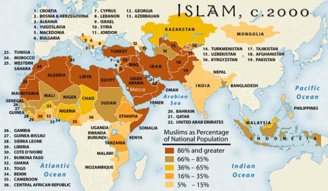 Crecimiento del Islam, año 2000