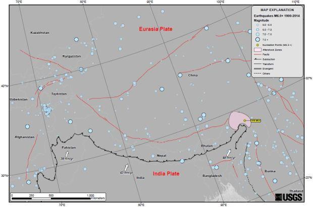 Nepal region faults