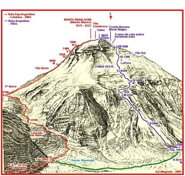 En azul, la ruta del Pear Buttress dibujada por el mismísimo Magnani